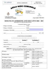 Modulo Ammissioni 2020/21 - Asilo Nido Arcobaleno