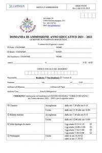 Domanda Ammissione Anno Ed. 2021/22